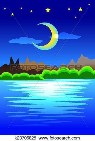 Clipart of Peaceful Natural Scene of Mountains against Crescent.