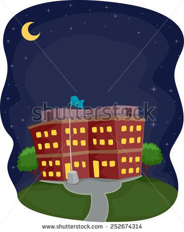 School Building Night Stock Vectors, Images & Vector Art.