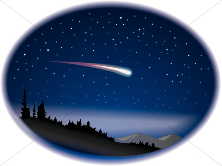 Shooting Star on Night Sky Clipart.