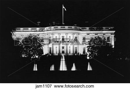 Picture of Black and white night shot of the White House.