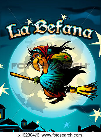 Stock Photo of La Befana flying on broom in front of full moon at.