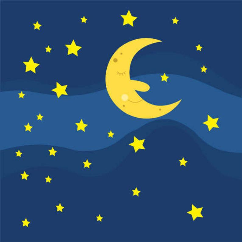 Sleeping Moon and Stars in the Night Sky Clip Art Collection, Sweet Dreams,  Cute, Face, Illustration, PNG.