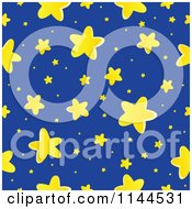 Cartoon of a Cute Yellow Star and Blue Night Sky Background.