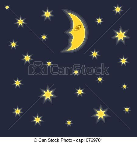 Clip Art of Night sky background with moon and stars.