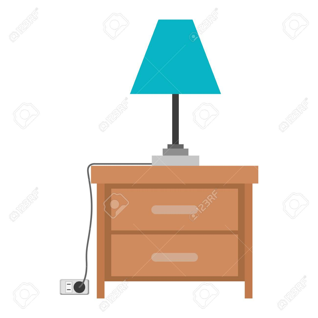 nightstand with lamp in colorful silhouette on white background...