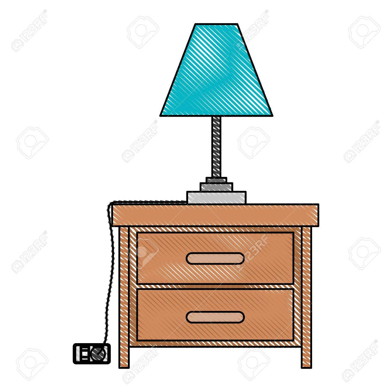 Nightstand with lamp in color crayon silhouette on white background...