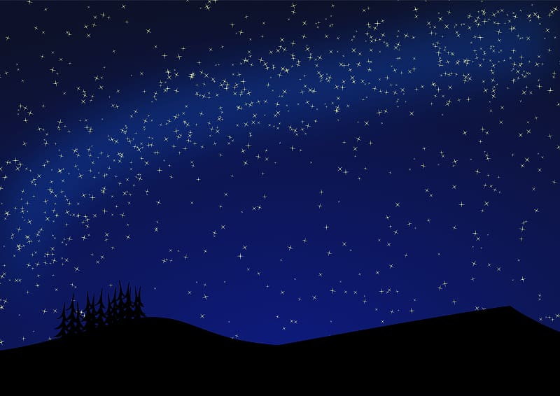 Silhouette of mountain and trees illustration, Star Night.