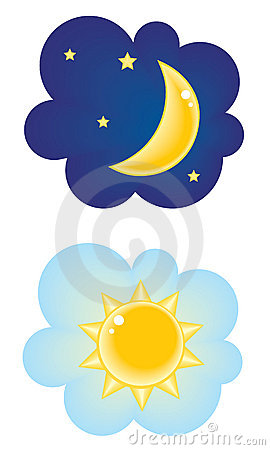 Night Time Clip Art Set Royalty Free Stock Images.