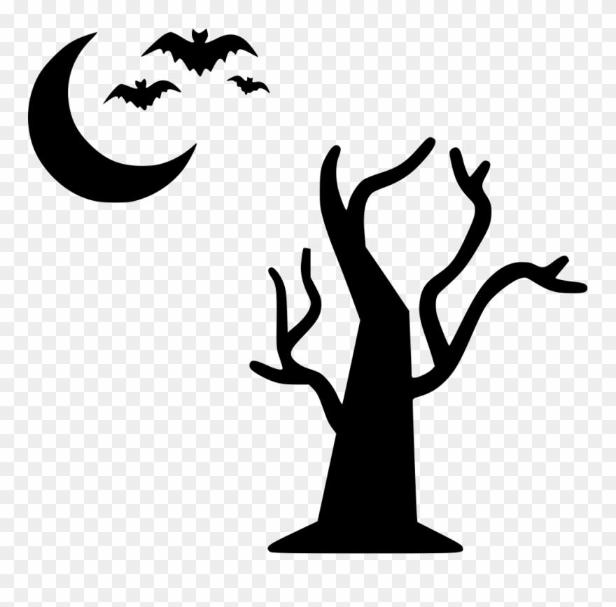 Tree Moon Bats Flying Halloween Night Comments.