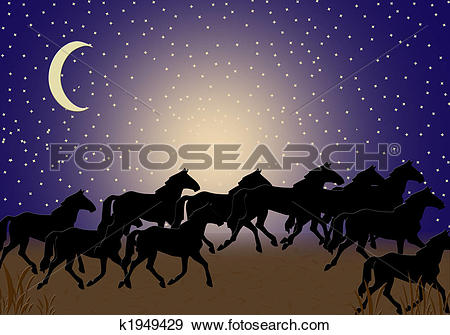 Stock Illustration of Horses Night Walk k1949429.