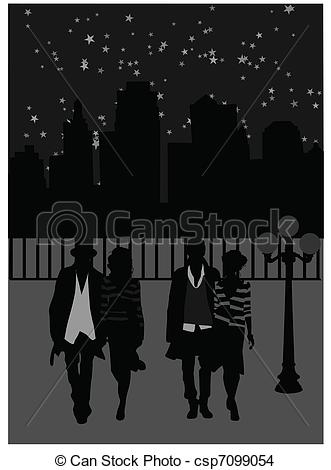 EPS Vector of Night walk.