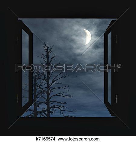 Open Window Night Clipart.