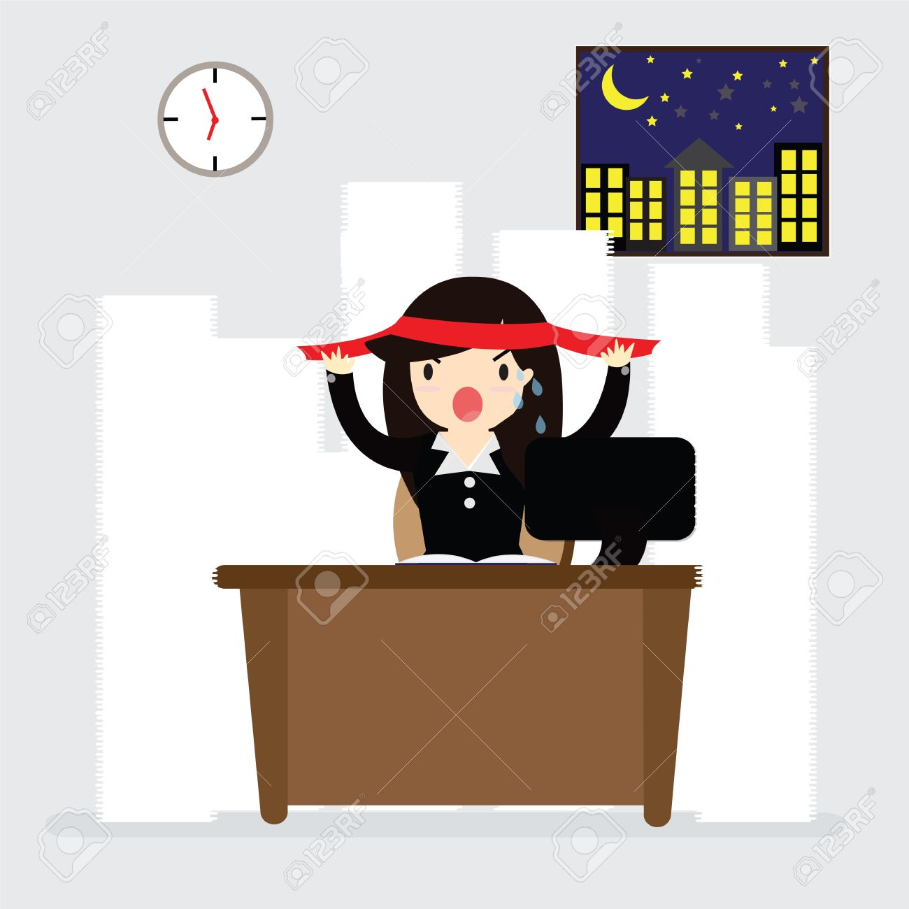 Business Woman Alertness Hard Work Sitting On Desk In Night At.