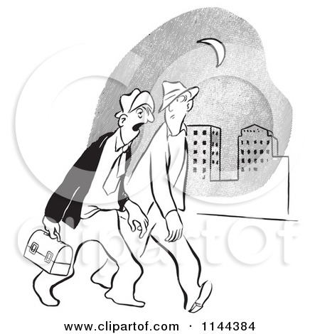 Cartoon of Black and White Worker Men Walking to Work Together at.