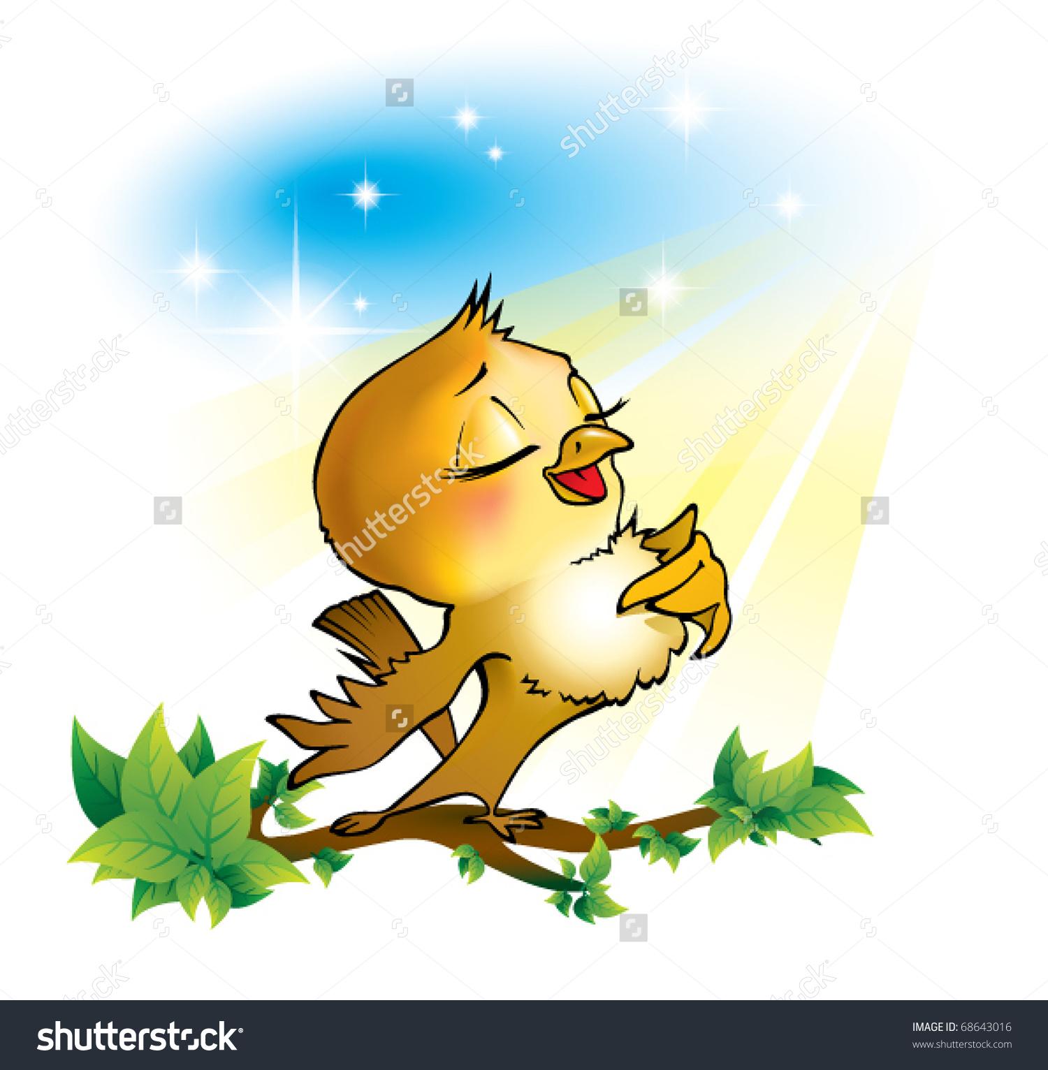 Nightingale Singing Clip Art.