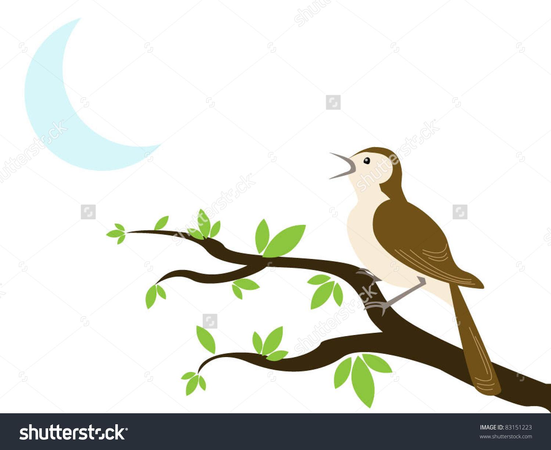 Nightingale Singing Clipart.
