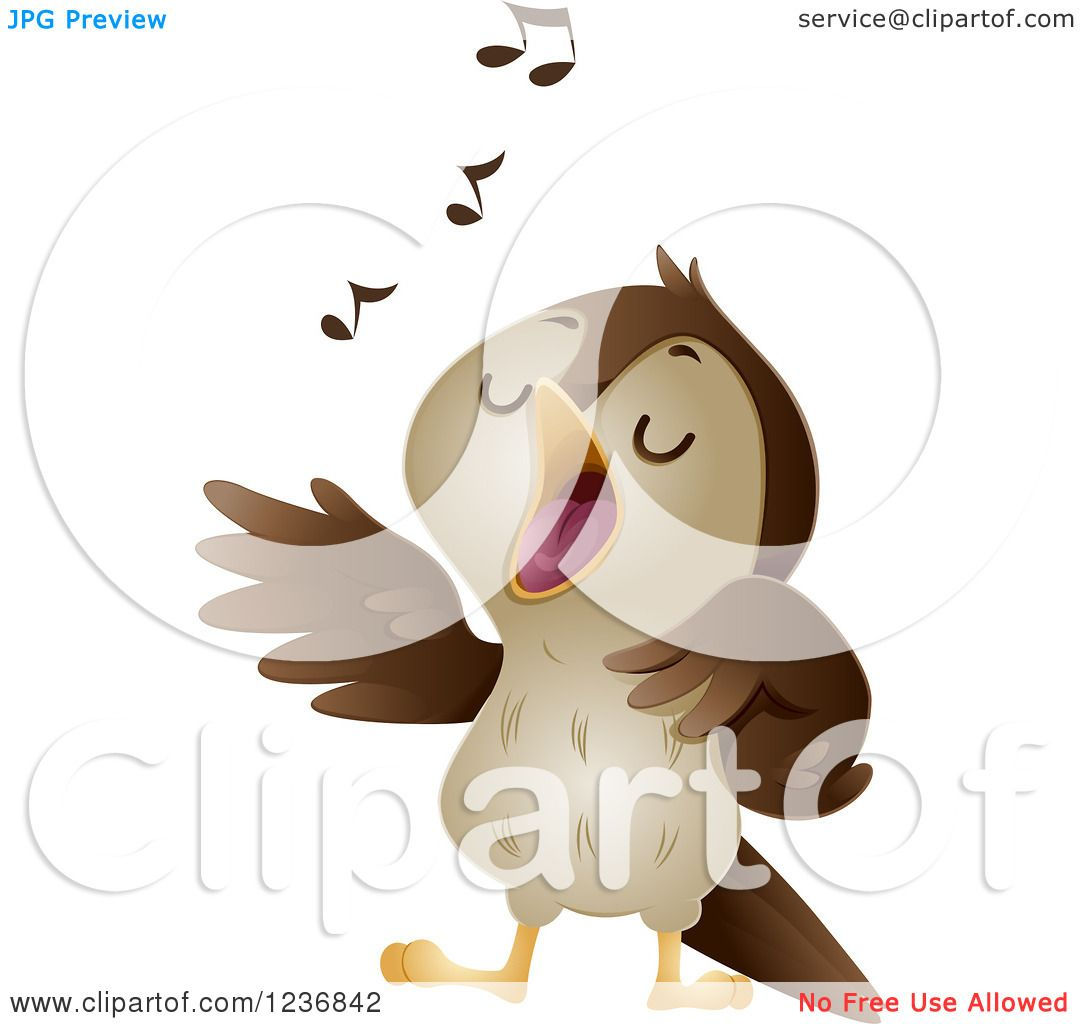 Clipart of a Cute Nightingale Singing.