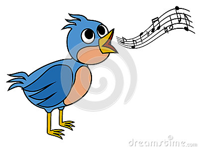 Nightingale Singing Clip Art.
