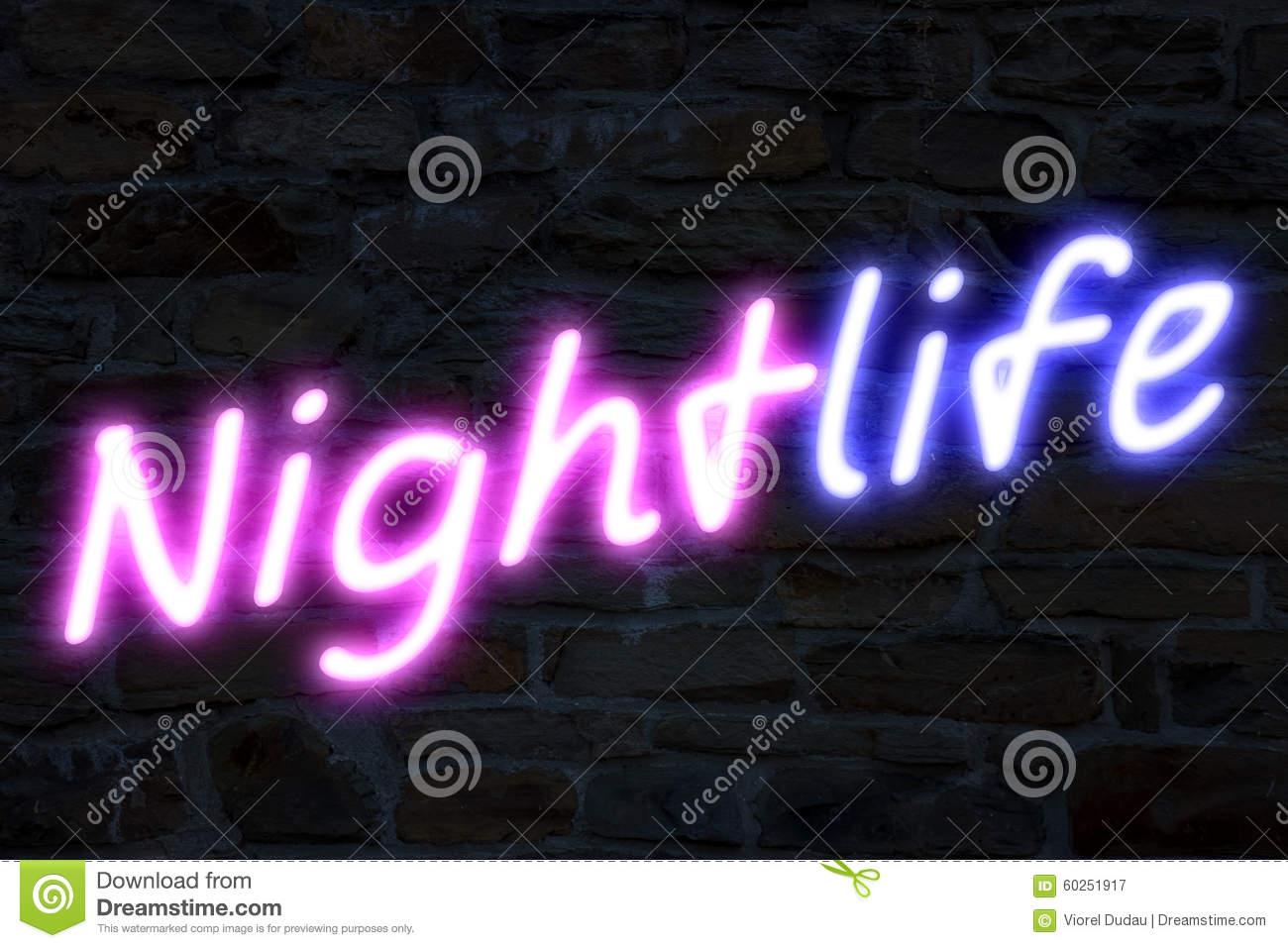 Nightlife Neon Lights Stock Illustration.