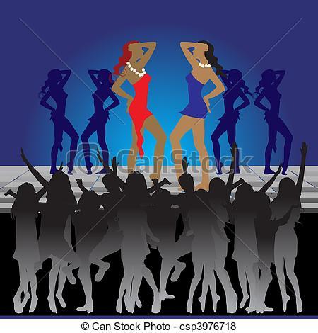 Vector of Girls dancing on dance floor in nightclub csp3976718.