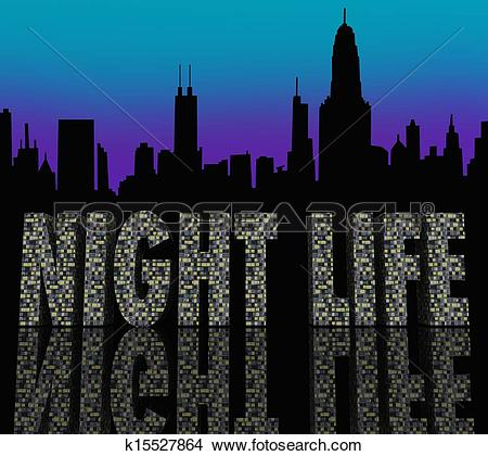 Drawings of Night Life Words Building City Skyline k15527864.