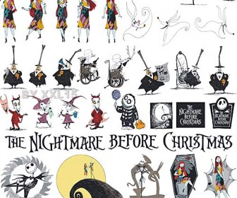Nightmare Before Christmas Characters Vector Clip Art.