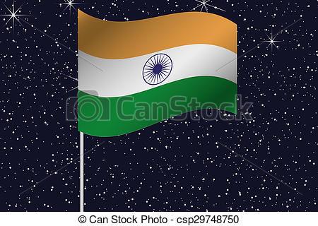 Stock Illustrations of 3D Flag Illustration waving in the night.