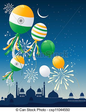 Clipart Vector of india flag balloons.