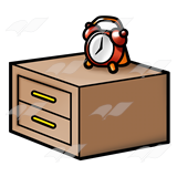 A Beka Book :: Clip Art :: Nightstand—with red alarm clock.