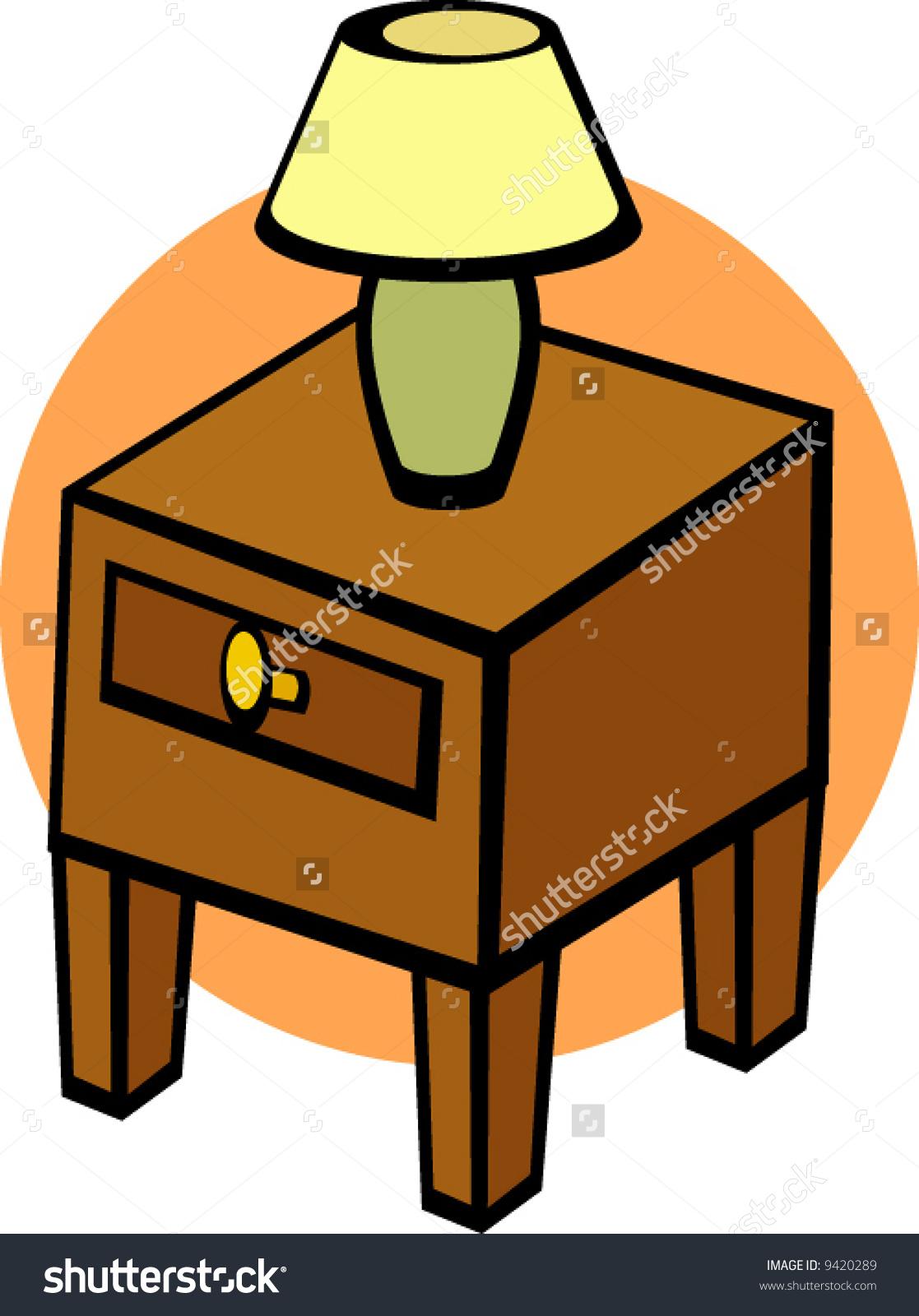 Nightstand Lamp Stock Vector 9420289.