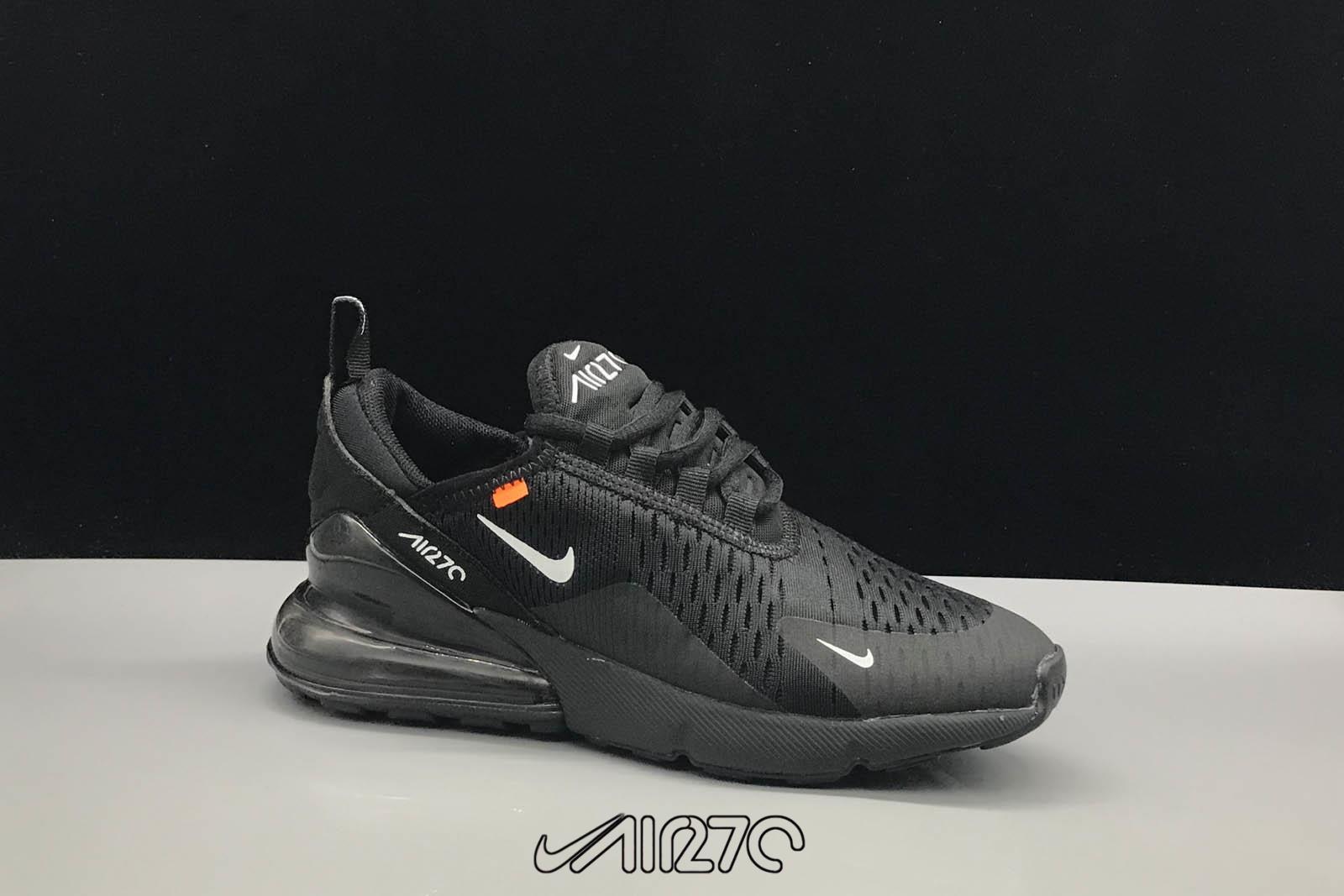Kids Nike Air Max 270 Triple Black and White Logo.