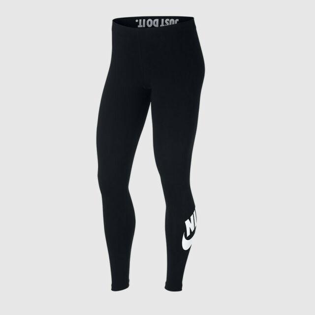 Nike Womens Black/White Leg A See Logo Leggings (AT5446.