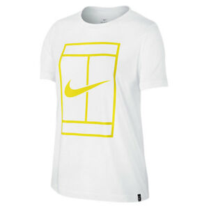 Details about NIKE Tennis Women`s Court Signal Logo Tennis Tee White  Electrolime Small.