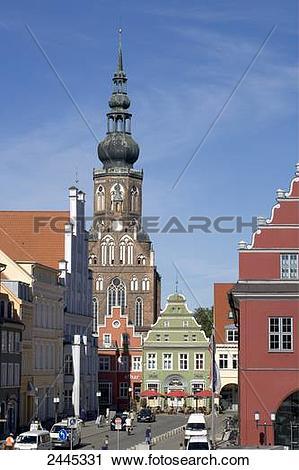 Stock Photography of Church in city, St. Nikolai Church.