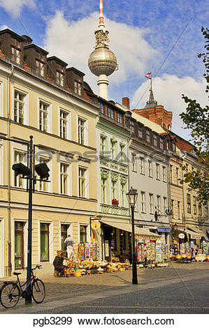 Stock Photograph of Berlin, Germany. Street with souvenir shops.