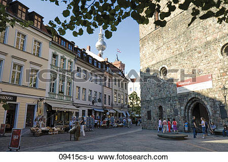 Stock Images of Germany, Berlin, Nikolaiviertel, Pedestrians in.