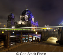 Stock Photography of Berlin cathedral dom at river Spree from.