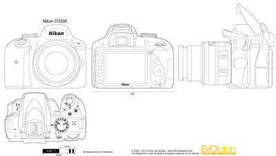 Nikon D3300 vector drawing.