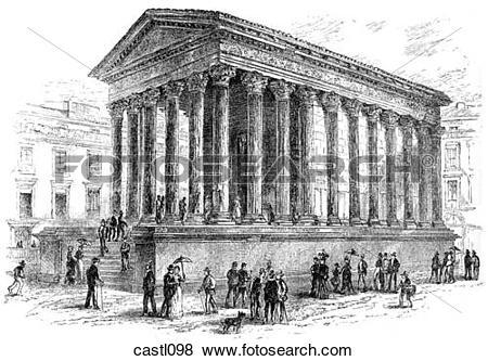 Stock Illustration of La Maison Caree, Nimes, France castl098.