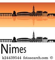 Nimes skyline Clipart EPS Images. 6 nimes skyline clip art vector.