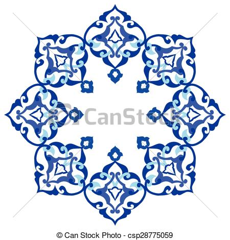 Clipart Vector of artistic ottoman pattern series nin.