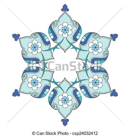 Vector Clip Art of artistic ottoman pattern series nin.