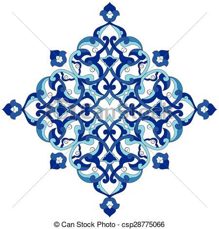Clip Art Vector of artistic ottoman pattern series nin.