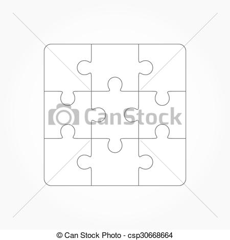 Clip Art Vector of Jigsaw puzzle blank template of nin.