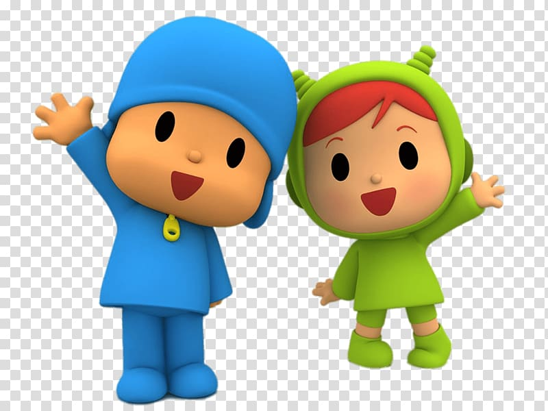 Boy and girl anime characters, Pocoyo and Nina Waving.