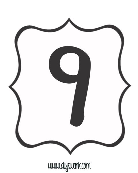 Number 9 Clipart Black And White.