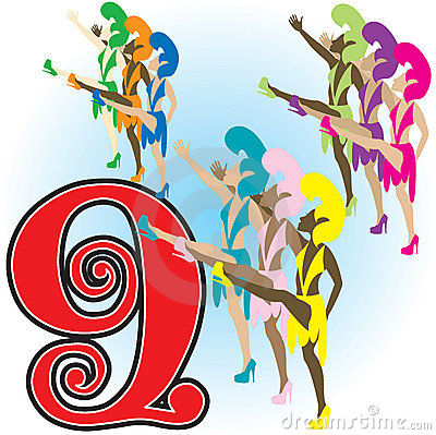 Nine Ladies Dancing/eps Royalty Free Stock Images.