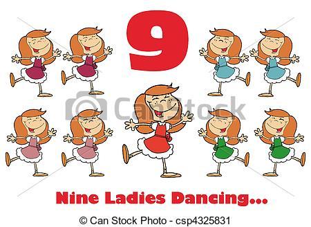 Nine ladies dancing Vector Clip Art Illustrations. 15 Nine ladies.