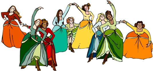 Nine Ladies Dancing Clipart.