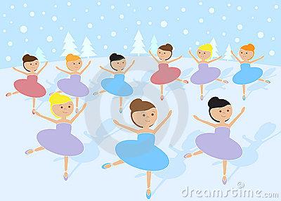 12 Days Of Christmas: 9 Ladies Dancing Stock Photos.